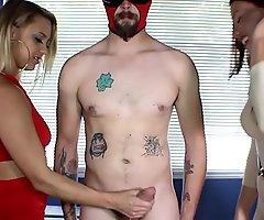 CFNM Clother Women Tease their Naked Leash Sub